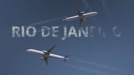 Flying airplanes trails and Rio de Janeiro caption. Traveling to Brazil conceptual 3D rendering