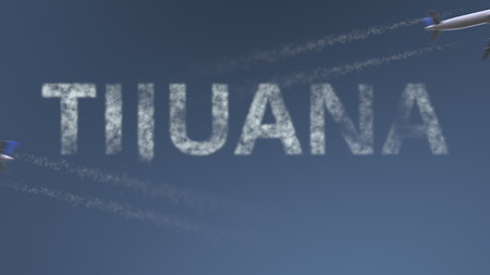Flying airplanes trails and Tijuana caption. Traveling to Mexico conceptual 3D rendering