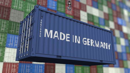 Container with MADE IN GERMANY caption. German import or export related 3D rendering