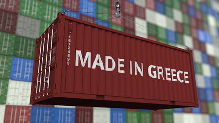 Container with MADE IN GREECE caption. Greek import or export related 3D rendering
