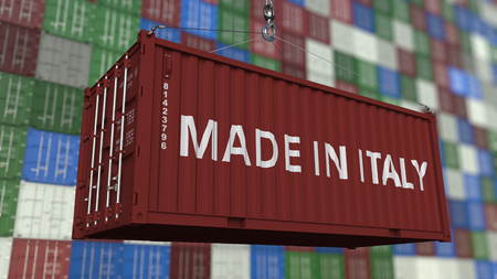 Container with MADE IN ITALY caption. Italian import or export related 3D rendering