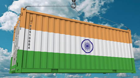 Cargo container with flag of India. Indian import or export related conceptual 3D rendering