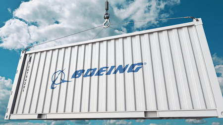 Cargo container with Boeing logo. Conceptual editorial 3D rendering Editorial
