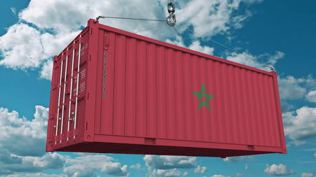 Loading container with flag of Morocco. Moroccan import or export related conceptual 3D rendering Stock Photo