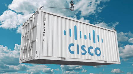 Cisco logo on an industrial container. Editorial 3D rendering