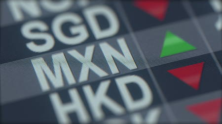 Increasing Mexican peso exchange rate indicator on computer screen. MXN forex ticker. 3D rendering
