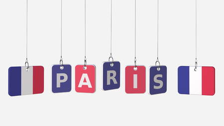 Hanging plates with flags of FRANCE and Paris caption. Conceptual 3D rendering