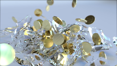 Breaking glass piggy bank full of coins. Crisis related conceptual 3D rendering
