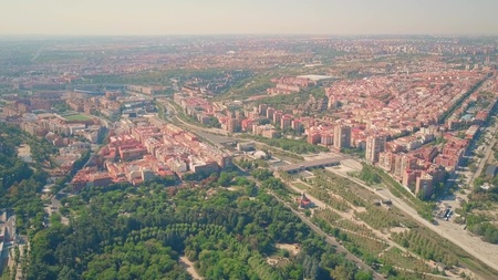 Aerial view of southwestern part of Madrid from Campo del Moro Gardens, Spain