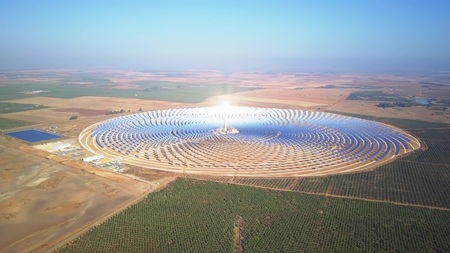 SEVILLE, SPAIN - SEPTEMBER 28, 2018. Aerial view of Gemasolar Thermosolar Power Plant