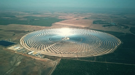 Aerial view of round solar power station