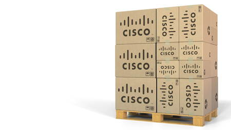 Multiple boxes with Cisco logo. Editorial 3D rendering 에디토리얼