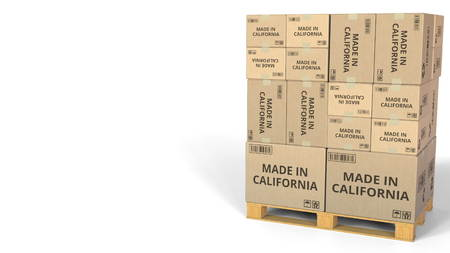 Warehouse cartons with MADE IN CALIFORNIA text. 3D rendering Standard-Bild
