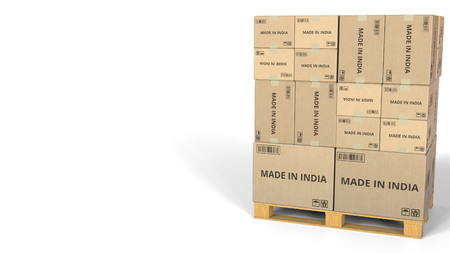 MADE IN INDIA text on warehouse cartons. 3D rendering