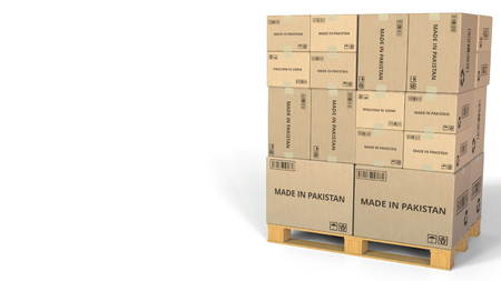 Cartons with MADE IN PAKISTAN text. Conceptual 3D rendering