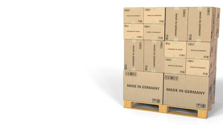 MADE IN GERMANY text on boxes on a pallet. Conceptual 3D rendering