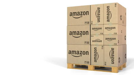 Boxes with Amazon logo on pallet. Editorial 3D rendering