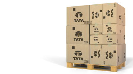 Stack of boxes with Tata logo. Editorial 3D rendering