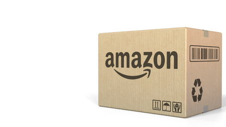 Amazon logo on a carton. Editorial 3D rendering