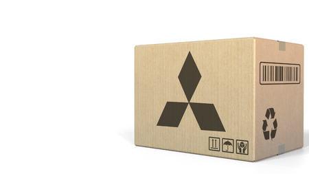 Box with Mitsubishi logo. Editorial 3D rendering Editorial