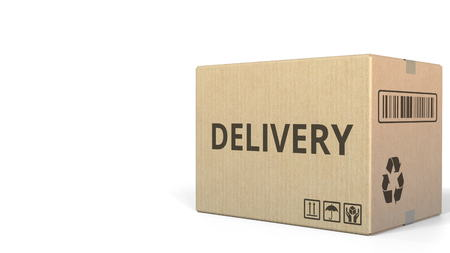 Carton with DELIVERY text. 3D rendering