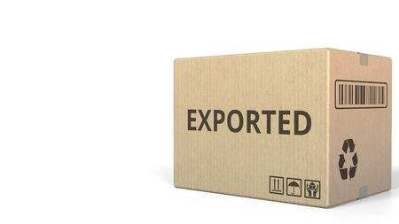 Box with EXPORTED inscription. 3D rendering Stock fotó