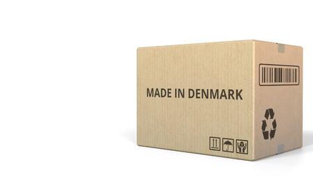 MADE IN DENMARK text on a warehouse carton. 3D rendering