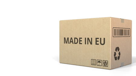 Carton with MADE IN EU text, 3D rendering