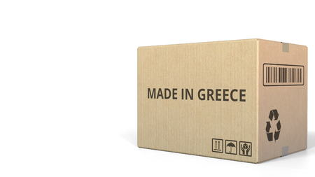 MADE IN GREECE text on a warehouse carton. 3D rendering