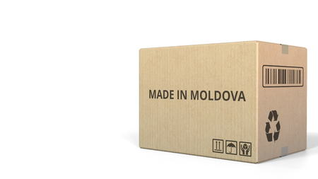 MADE IN MOLDOVA text on a warehouse carton. 3D rendering