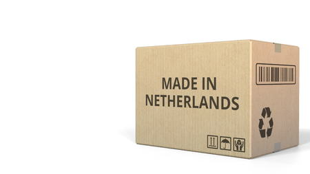 Carton with MADE IN NETHERLANDS text. 3D rendering