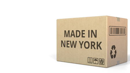 Carton with MADE IN NEW YORK text, 3D rendering