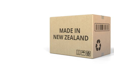 Carton with MADE IN NEW ZEALAND text, 3D rendering Фото со стока