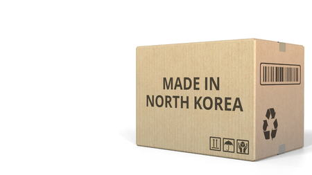 Carton with MADE IN NORTH KOREA text, 3D rendering Stock fotó