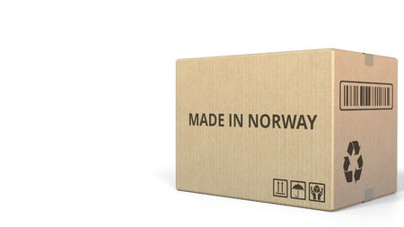 MADE IN NORWAY text on a warehouse carton. 3D rendering