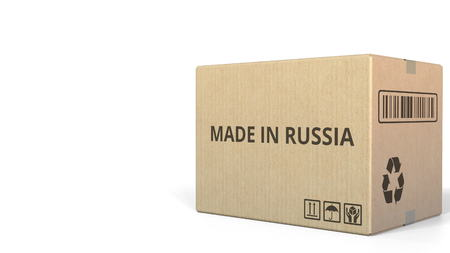 Box with MADE IN RUSSIA caption. 3D rendering Stock fotó