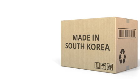 Carton with MADE IN SOUTH KOREA text, 3D rendering