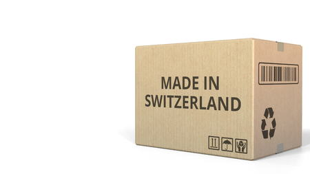 Carton with MADE IN SWITZERLAND text. 3D rendering Stock fotó
