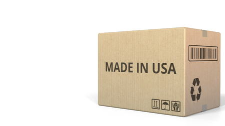 Box with MADE IN USA caption. 3D rendering Stock fotó