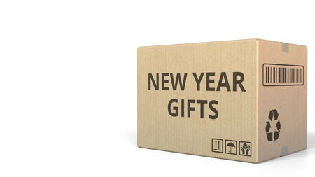 Carton with NEW YEAR GIFTS text, 3D rendering