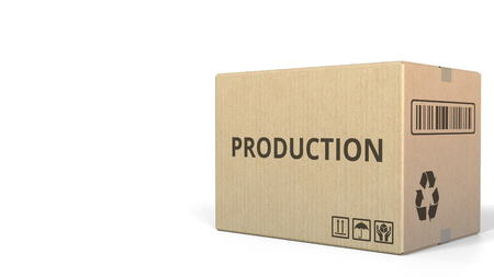 PRODUCTION text on a warehouse carton. 3D rendering