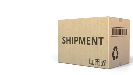 Carton with SHIPMENT text. 3D rendering