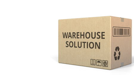 WAREHOUSE SOLUTION text on a warehouse carton. 3D rendering