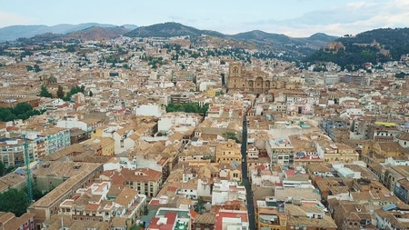 Aerial view of Granada involving famous Cathedral or Catedral de Granada, Spain Stok Fotoğraf