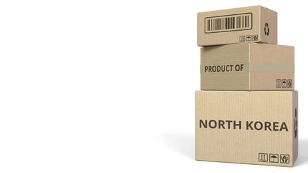 PRODUCT OF NORTH KOREA text on cartons, blank space for caption. 3D rendering Foto de archivo