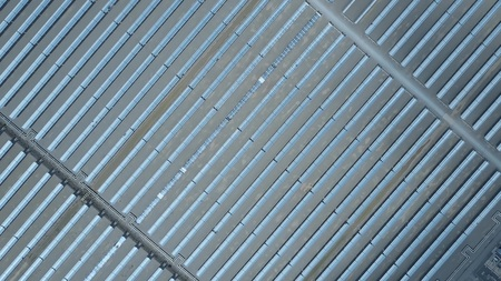 Aerial top-down view of modern solar power station