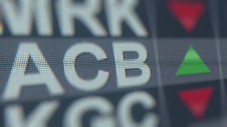 AURORA CANNABIS ACB stock ticker, conceptual editorial 3D rendering Editorial