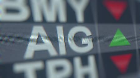 AMERICAN INTERNATIONAL GROUP AIG stock ticker. Editorial 3D rendering Editorial