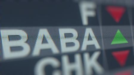 ALIBABA GROUP HOLDING ADR BABA stock ticker. Editorial 3D rendering Sajtókép