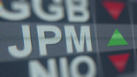 JPMORGAN CHASE JPM stock ticker, conceptual editorial 3D rendering